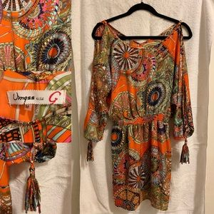 Gorgeous orange/multi, silky, cold-shoulder dress